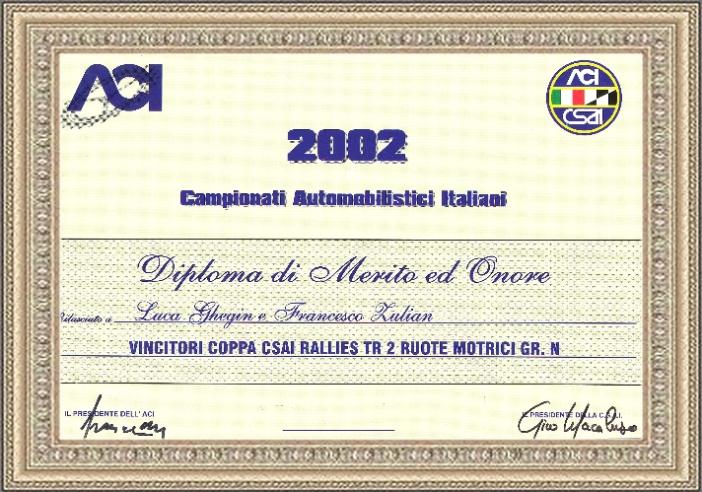 Titolo Italiano 2002  2 WD Gr. N